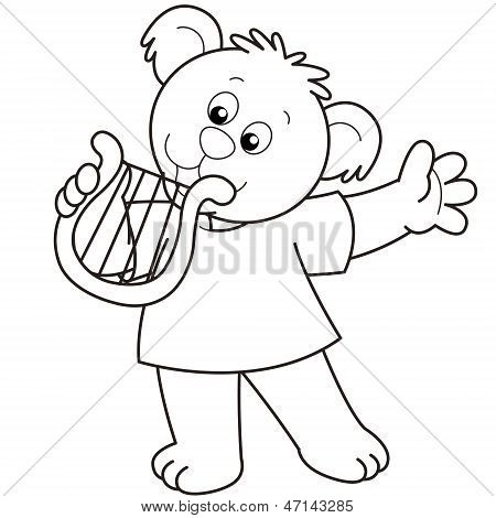 Cartoon Bear Playing A Harp