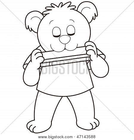 Cartoon Bear Mundharmonika spielt