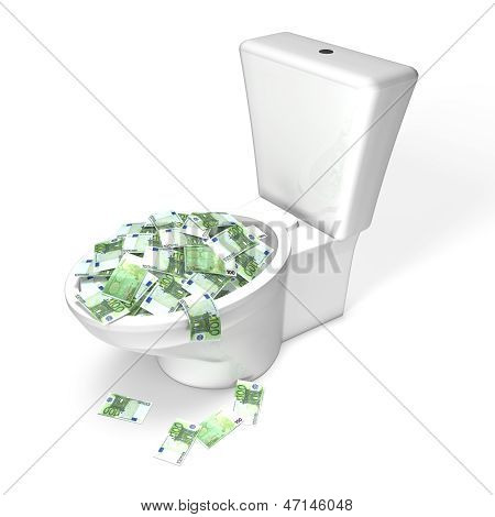 Wasting money Money in the Toilet, euro