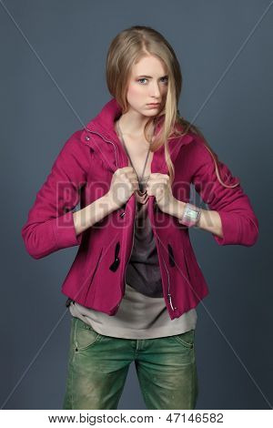 Beautiful fashion model posing at studio.