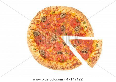 Whole Pizza Top View With A Slice Cut