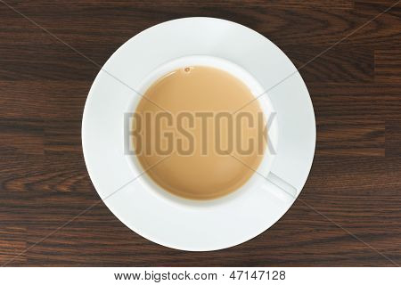 Overhead View Of Tea In A Cup And Saucer On Wood