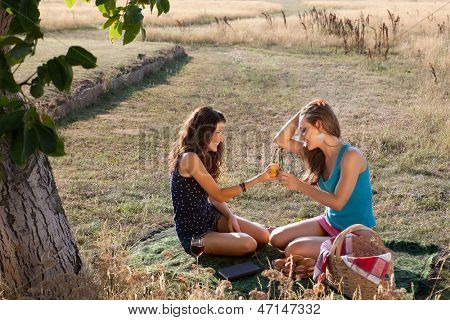 Picnic scene with two young women sharing a peach