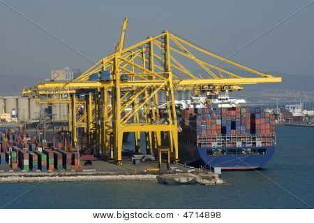 Container Ship During Load Operations