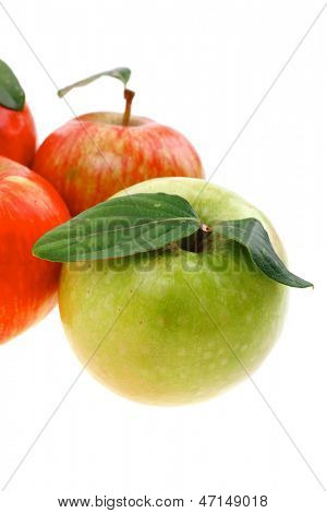group of red and green fresh ripe apples isolated over white background