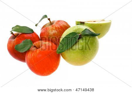 group of red and green fresh ripe apples with half isolated over white background