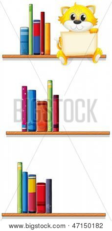 Illustration of a cat holding an empty board sitting at the shelf on a white background