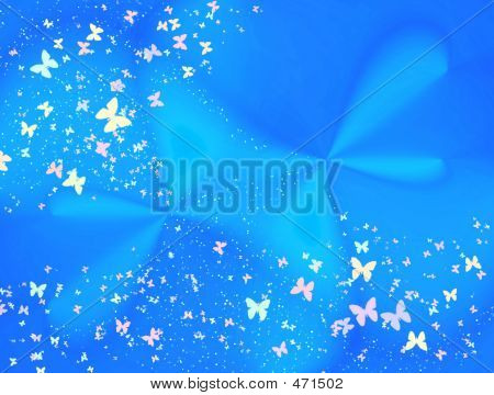 Blue Abstraction Material With Butterfly # 2