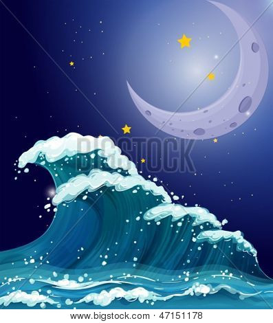 Illustration of a big wave under the sparkling stars and a bright moon