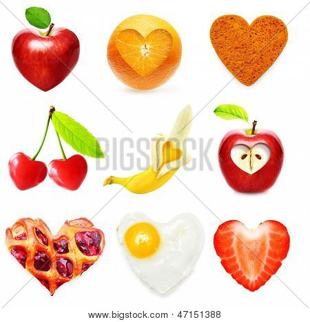 Heart symbol food isolated over white background