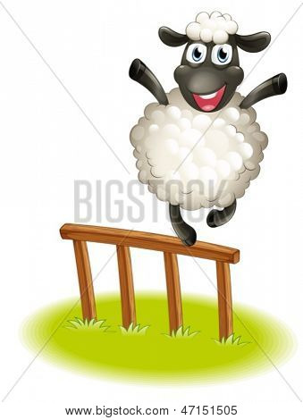 Illustration of a sheep standing above the wooden fence on a white background