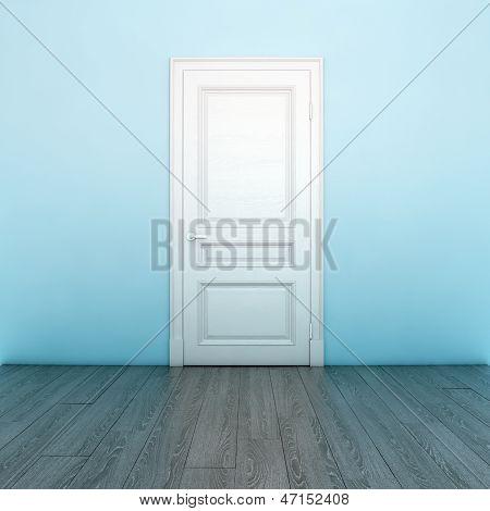 Empty Light Blue Interior With White Door