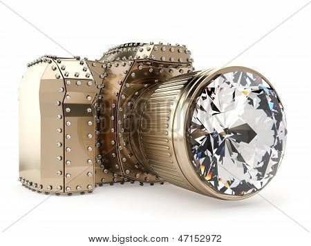 golden photo camera with diamond lens