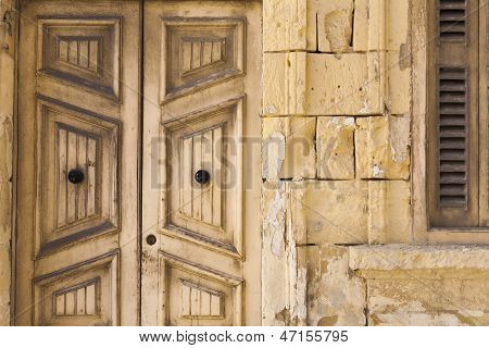 Old Wooden Doors And Stone Work On House