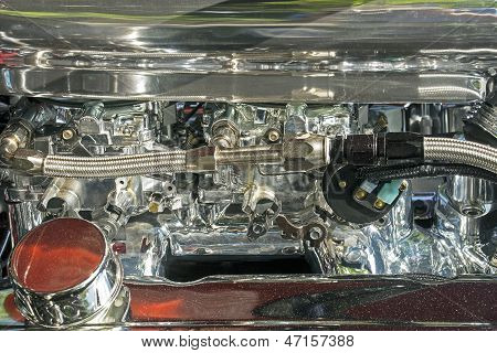 Dual Carburetor Of A V8 Engine