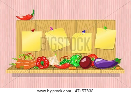 Vegetables On The Shelf With Stickers