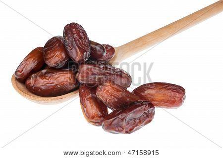 Dried Finik In A Wooden Spoon