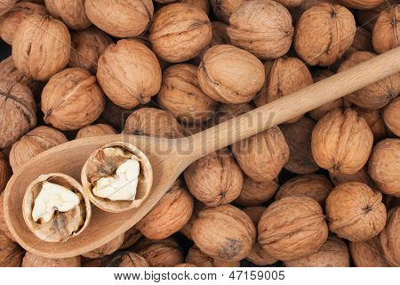 Wooden Spoon With  Walnuts