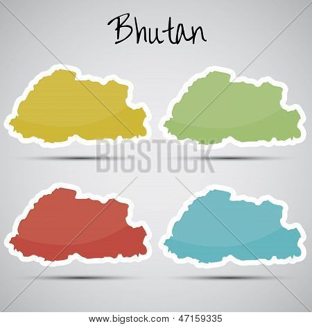 stickers in form of Bhutan