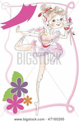 Little Ballerina On Stage