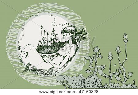 Sketch Of A Girl In A Hammock