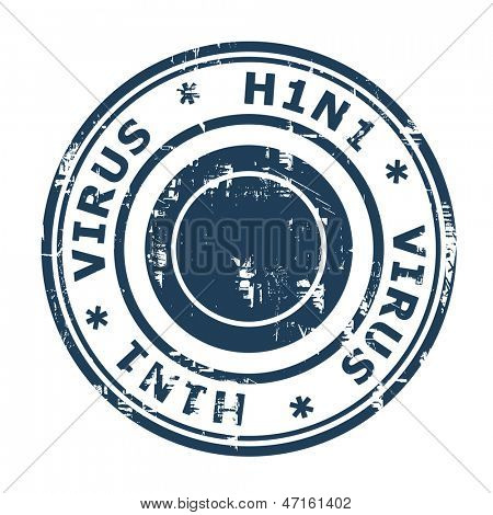 H1N1 Swine Flu Stamp isolated on a white background.