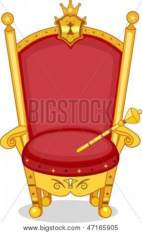 Illustration of Shiny Red and Gold Royal Chair with Scepter
