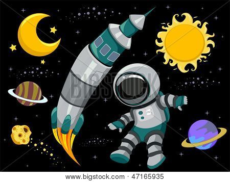Illustration of Outer Space Design Elements on Black Background