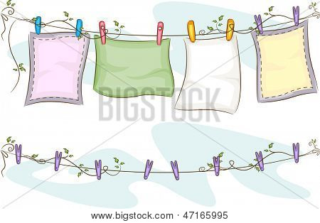 Illustration of Blankets Hanging on a Clothesline on Top of an Empty Clothesline
