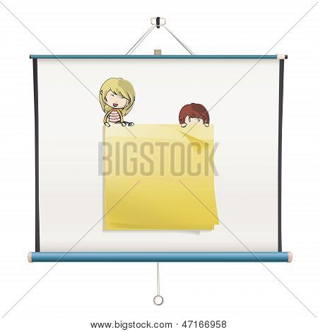 Yellow Post-it Inside A Projector Screen. Vector Design