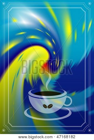 Coffee flyer. Steam coffee with painted background.