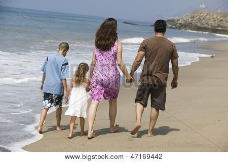Rear view of a family holding hands and walking at water's edge on the beach