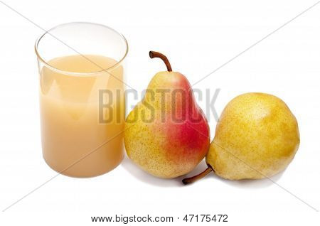 Glass of pear's juice with pears