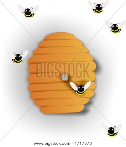 Beehive And Bees Swarming