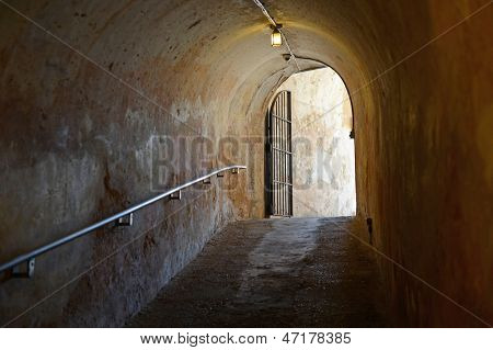 Tunnel exit in San Cristobal Fort in San Juan Puerto Rico