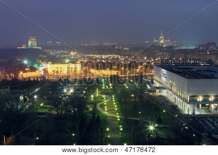 MOSCOW - NOV 21: View of The Central House of Artists, The State Tretyakov Gallery and the Muzeon at night, on Nov 21, 2012 in Moscow, Russia
