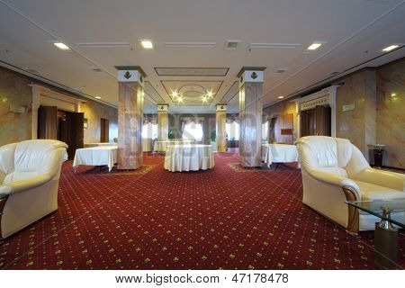 MOSCOW - NOV 21: The foyer on the 14th floor of the President Hotel, on Nov 21, 2012 in Moscow, Russia. There are
