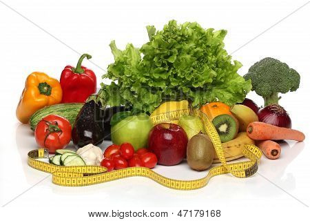 Delicious group of healthy vegetables isolated on white