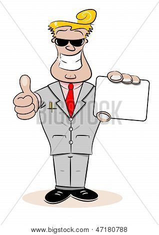 Cartoon Businessman with Card
