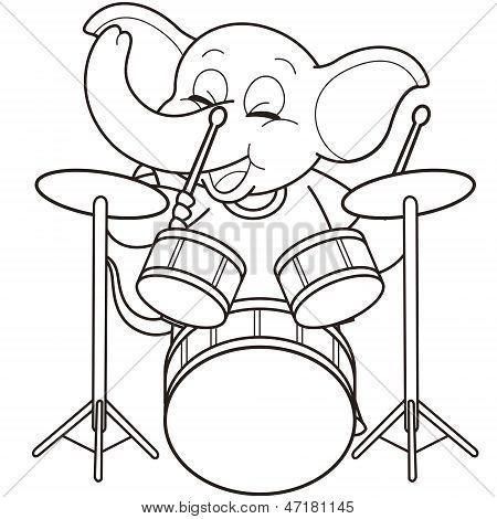 Cartoon Elephant Playing Drums