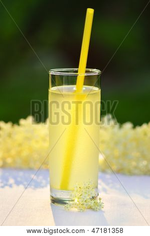 Glass Of Natural Elderflower Juice With Lemon.