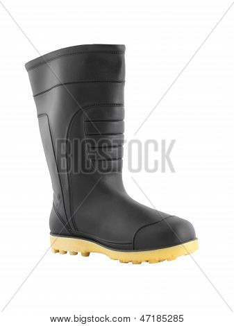 Outer side rubber black boot shoe on white background.