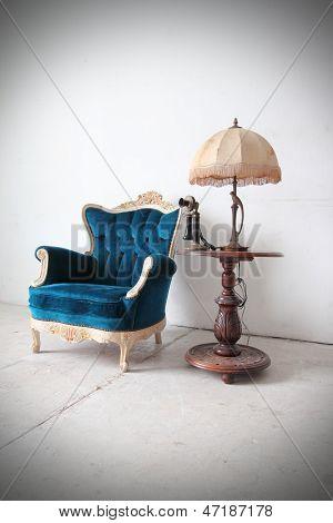 Blau Vintage Luxus Sessel