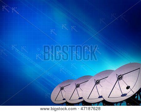 Abstract Satellite Transmission Data Digital Blue Effect Background