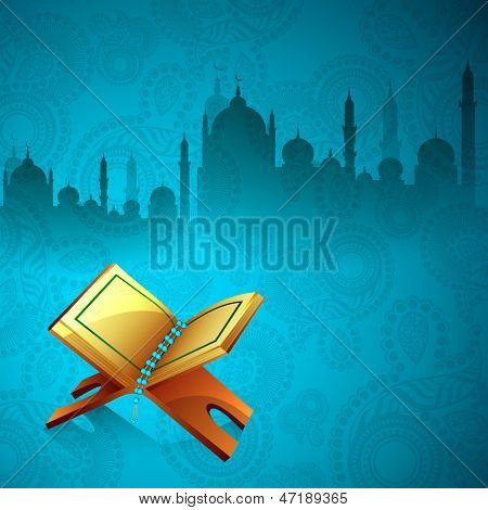 Islamic religious holy book Quran Shareef on beautiful floral decorated background with view of mosque.