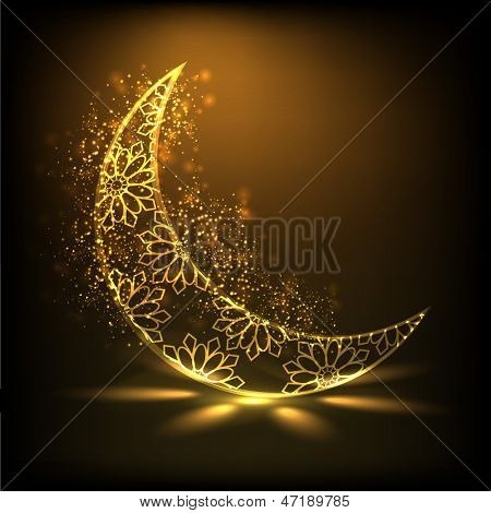 Shiny floral decorative moon on brown background for Muslim community festival Eid Mubarak.