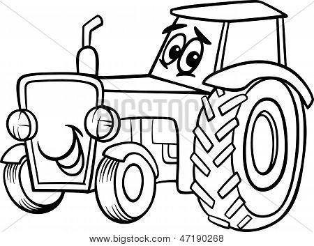 Traktor Cartoon für Malbuch