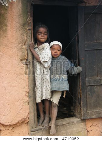 Two Malagasy Girls In Their House