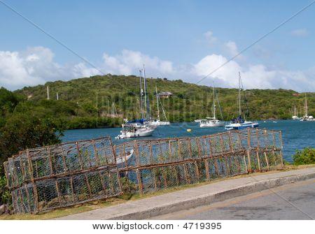 Lobster Traps Near English Harbour In Antigua Barbuda