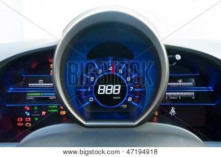 Blue And Black High-tech Dashboard